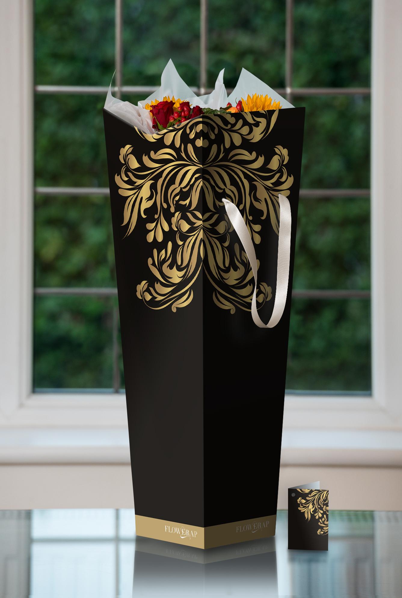 Black finish, contemporary gold leaf cascade L/W/H 18/18/53cm